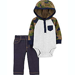 carter's® Size 12M 2-Piece Hooded Bodysuit and Pant Set in Green/Blue