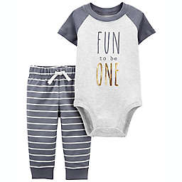 carter's® 2-Piece Fun To Be One Bodysuit Set in Grey