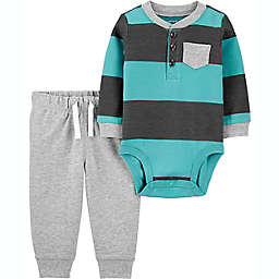 carter's® 2-Piece Striped Henley Bodysuit and Pant Set