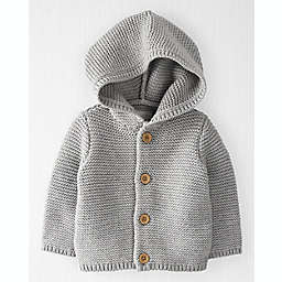 carter's® Size 12M Organic Cotton Seed Stitch Hooded Cardigan Sweater in Grey