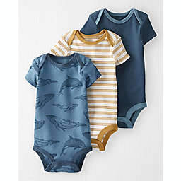 carter's® Size 18M 3-Pack Whales Organic Cotton Rib Bodysuits in Multi/Blue