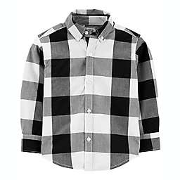 carter's® Size 4T Plaid Twill Button-Front Shirt in Black/White