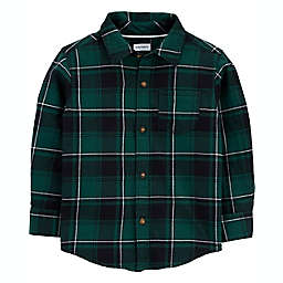 carter's® Size 2T Plaid Twill Button-Front Shirt in Green
