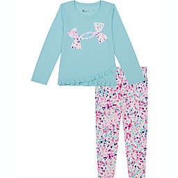 Under Armour® 2-Piece Wordmark Top and Pant Set in Teal