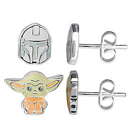 Disney® Star Wars Brass 2-Piece The Child and The Mandalorian Stud Earring Set in Silver/Multi