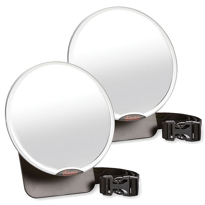 Alternate image 1 for Diono® Easy View™ Two2Go Adjustable Back Seat Mirrors in Black/Silver (Pack of 2)