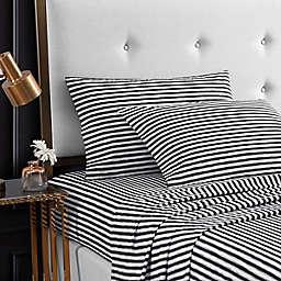 Betsey Johnson® Sketchy Stripe Full Sheet Set in Black
