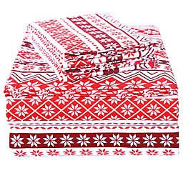 EnvioHome™ Flake Stripes Flannel Sheet Set