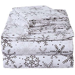 EnvioHome™ Snowflakes Flannel Sheet Set