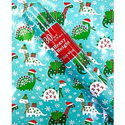 Christmas Dinosaurs Print 30 sq. ft. Heavyweight Christmas Gift Wrap
