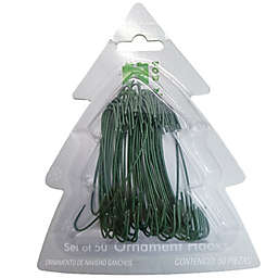 H for Happy™ 2.5-inch Christmas Ornament Hooks in Green (Set of 50)