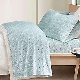 Intelligent Design Cozy Soft Cotton Novelty Print Flannel Queen Sheet Set in Aqua Llama Face