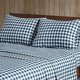 Woolrich Flannel Cotton Queen Sheet Set in Blue Buffalo Check