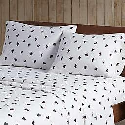 Woolrich Flannel Cotton Full Sheet Set in Black/White Scottie Dogs