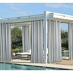Coastal Stripe 108-Inch Indoor/Outdoor Window Curtain Panel in Dark Grey (Single)