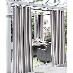 Coastal Stripe 84-Inch Indoor/Outdoor Window Curtain Panel in Taupe (Single)