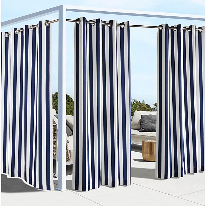 Alternate image 1 for Coastal Stripe Grommet Top Indoor/Outdoor Window Curtain Panel (Single)