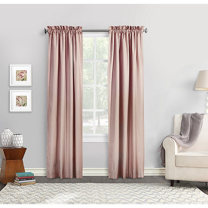 Alternate image 1 for Commonwealth Home Fashions Ticking Stripe Window Curtain  (Set of 2)