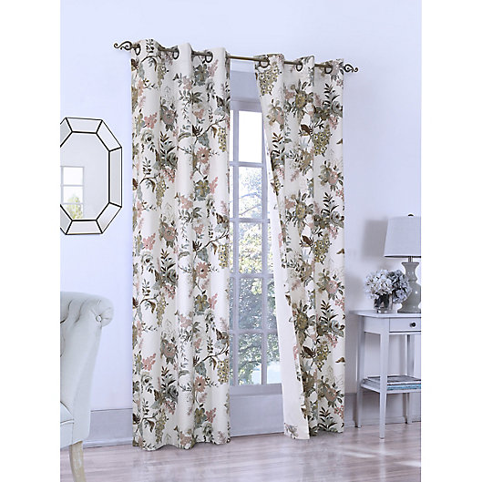 Alternate image 1 for Romantic Floral Grommet Insulated Window Curtain  in Seafoam (Set of 2)