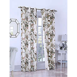 Romantic Floral Grommet Insulated Window Curtain  in Seafoam (Set of 2)