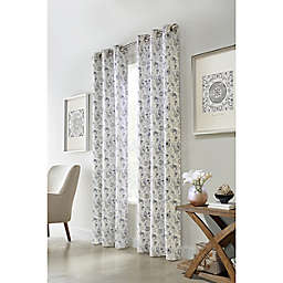 Moody Floral Grommet Light Filtering Window Curtain Panels (Set of 2)