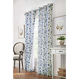 Moody Floral 2-Pack 84-Inch Grommet Light Filtering Window Curtain Panels in Blue