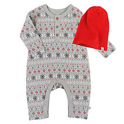The Honest Company® Size 6-9M 2-Piece Coverall and Headband Set in Fair Isle Grey