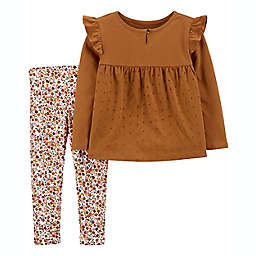carter's® 2-Piece Eyelet Jersey Top and Floral Leggings Set in Brown