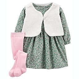carter's® Size 6M 3-Piece Fuzzy Vest & Floral Dress Set in Teal