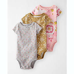carter's® 3-Pack Organic Cotton Rib Bodysuits in Pink/Grey
