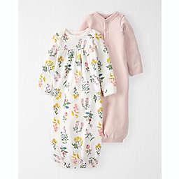 OshKosh B'gosh® 2-Pack Organic Cotton Rib Sleeper Gowns in Cream/Pink
