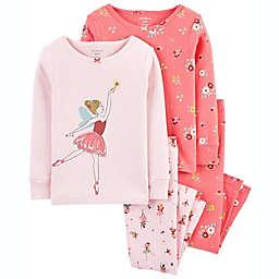 carter's® 4-Piece Ballerina 100% Snug Fit Cotton PJs in Pink