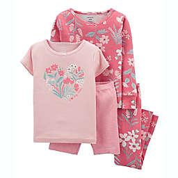 carter's® 4-Piece Floral 100% Snug Fit Cotton PJs in Pink