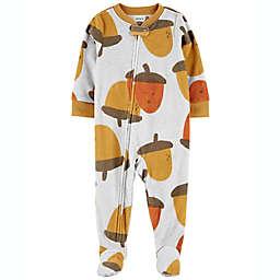 carter's® Size 18M 1-Piece Acorns Fleece Footie PJs in Ivory