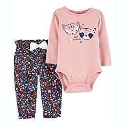 carter's® 2-Piece Fox Bodysuit and Pant Set in Pink