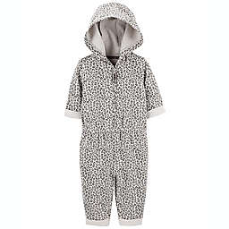 carter's® Size 6M Hooded Leopard Jumpsuit in Grey