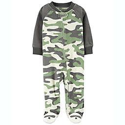 carter's® Size 6M Camo Zip-Up Fleece Sleep & Play in Green/Multi