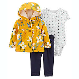 carter's® Size 6M 3-Piece Floral Quilted Cardigan Set in Yellow