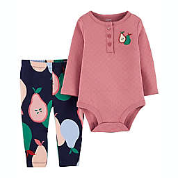 carter's® Size 6M 2-Piece Pear Long Sleeve Bodysuit and Pant Set in Mauve