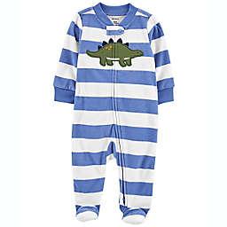 carter's® Preemie Striped Dino Zip-Up Fleece Sleep & Play in Blue