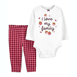 carter's® 2-Piece I Love My Family Bodysuit and Pant Set in Cream