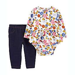 carter's® Size 18M 2-Piece Floral Peplum Bodysuit and Pant Set in Cream/Multi