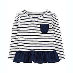 carter's® Size 2T Long-Sleeve Peplum Top in Blue/White