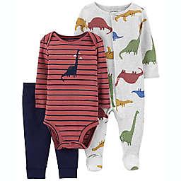 carter's® 3-Piece Dinosaur Multicolor Sleep & Play Outfit Set