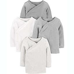 carter's® Preemie 4-Pack Long Sleeve Side-Snap Shirts in Grey Multi
