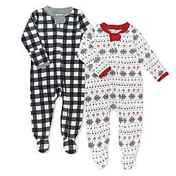Honest® 2-Pack Painted Buffalo Check Organic Cotton Footed Pajamas in Black