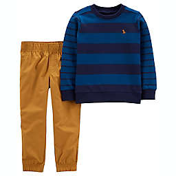 carter's® Size 4T 2-Piece Striped French Terry Pullover & Pant Set in Navy/Tan