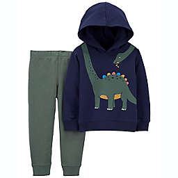 carter's® 2-Piece Dinosaur Multicolor Hoodie Sweater and Pant Set