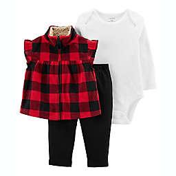 carter's® 3-Piece Plaid Vest Set in Red/Black