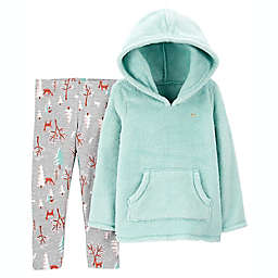 carter's® 2-Piece Fuzzy Hoodie and Legging Set in Ice Blue